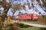 br-155/9899/155-254-6-und-111-064-2-am 155 254-6 und 111 064-2 am 17.10.2008 bei Denzlingen  (Glückstreffer - beide Züge fuhren!)