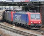 re-482/23069/482-006-und-482-030-mit 482 006 und 482 030 mit DGS 49097 am 07.03.2009 in Offenburg.