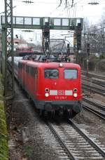 BR 110/13654/110-236-und-115-383-mit 110 236 und 115 383 mit PbZ 1959 am 12.03.2009 in Offenburg.